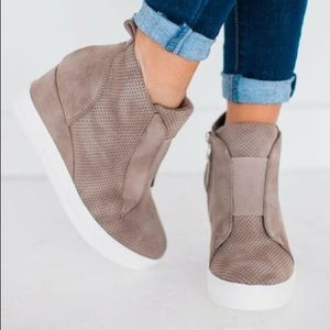 Ccocci Zoey Perforated Wedge Sneakers in Taupe